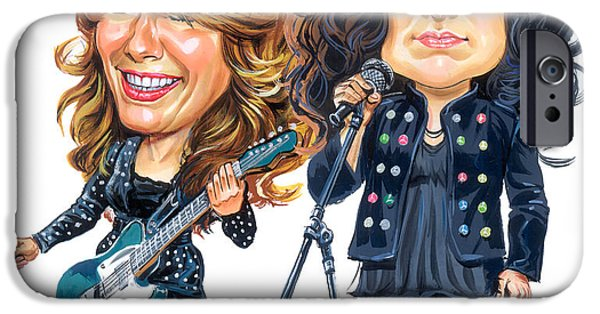 Art iPhone Cases - Ann and Nancy Wilson of Heart iPhone Case by Art
