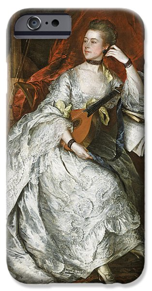 Lute iPhone Cases - Ann Ford Later Mrs Philip Thicknesse, 1760 Oil On Canvas iPhone Case by Thomas Gainsborough