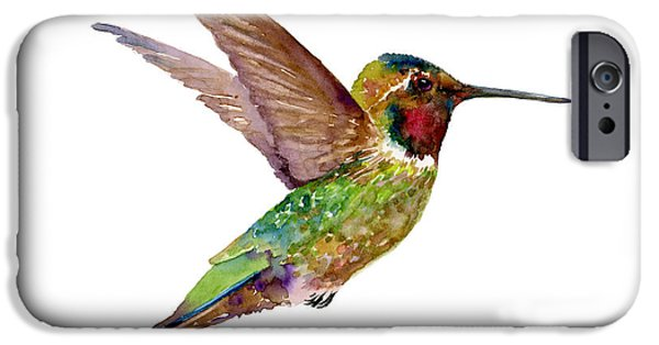 Flight Paintings iPhone Cases - Anna Hummingbird iPhone Case by Amy Kirkpatrick
