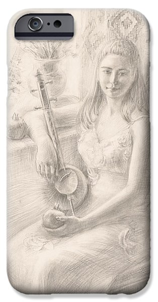 Painter Drawings iPhone Cases - Anna with qyamancha iPhone Case by Meruzhan Khachatryan