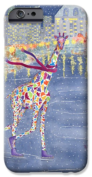 Giraffes iPhone Cases - Annabelle on Ice iPhone Case by Rhonda Leonard
