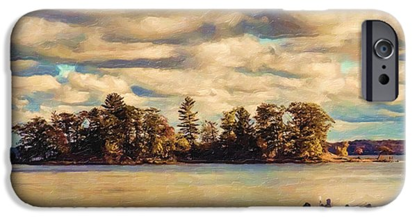 Canoe Digital iPhone Cases - Anne Lacys Hamlin Lake iPhone Case by Lianne Schneider and Anne Lacy