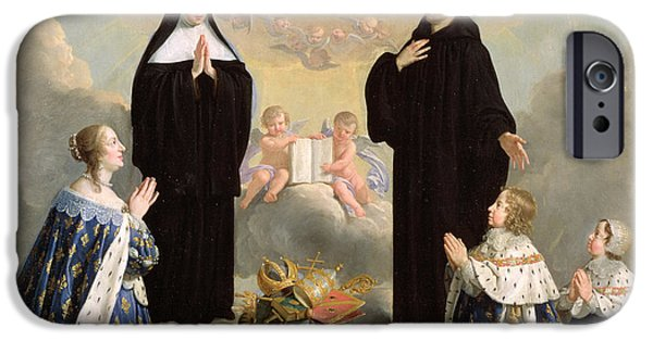 Benedict iPhone Cases - Anne Of Austria 1601-66 And Her Children At Prayer With St. Benedict And St. Scholastica, 1646 Oil iPhone Case by Philippe de Champaigne