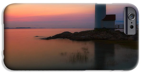 New England Lighthouse iPhone Cases - Annisquam Harbor Light Sunset iPhone Case by Jerry Fornarotto