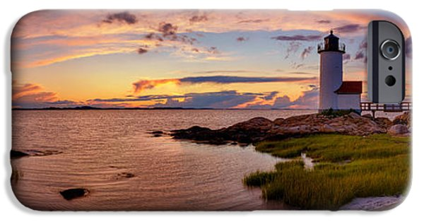 New England Lighthouse iPhone Cases - Annisquam Harbor Lighthouse After Sunset iPhone Case by Scott Lynde