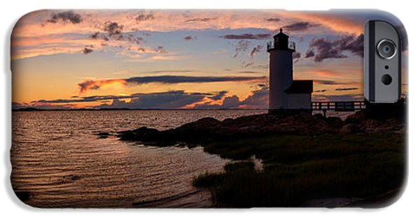 New England Lighthouse iPhone Cases - Annisquam Light Sunset Silhouette iPhone Case by Scott Lynde
