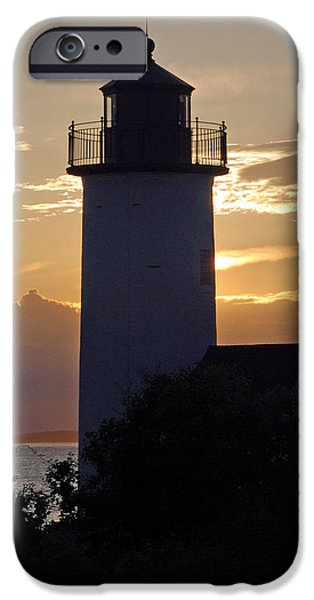 Ocean Sunset iPhone Cases - Annisquam Lighthouse Sunset iPhone Case by Richard Bryce and Family
