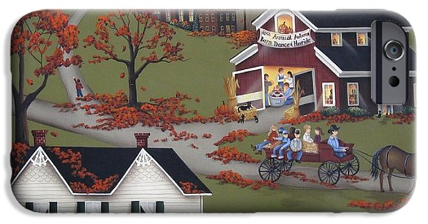 Barns Paintings iPhone Cases - Annual Barn Dance and Hayride iPhone Case by Catherine Holman