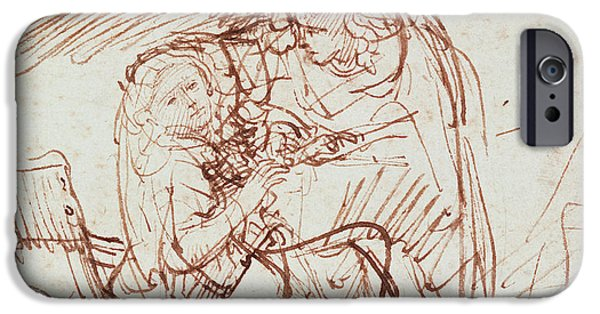 Son Of God Drawings iPhone Cases - Annunciation  iPhone Case by Rembrandt Harmenszoon van Rijn