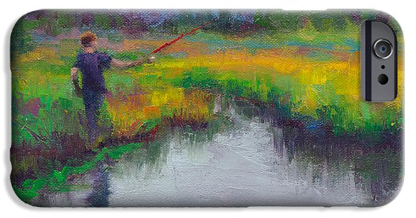 Resilience iPhone Cases - Another Cast - fishing in Alaskan stream iPhone Case by Talya Johnson