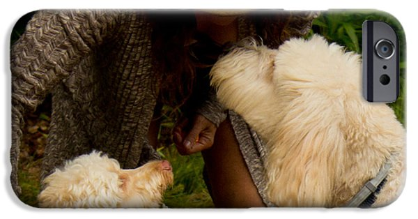 Fuzzy Golden Puppy iPhone Cases - Another Friend iPhone Case by Sandra Clark