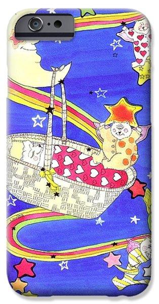 Star Nursery Paintings iPhone Cases - Another Star is Born iPhone Case by Lynnda Rakos