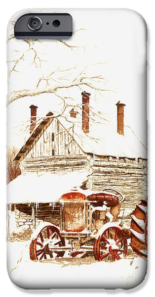 Snowy Drawings iPhone Cases - Another Time iPhone Case by Larry Johnson