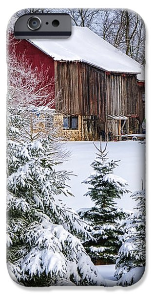 Another Wintry Barn iPhone Case by Joan Carroll