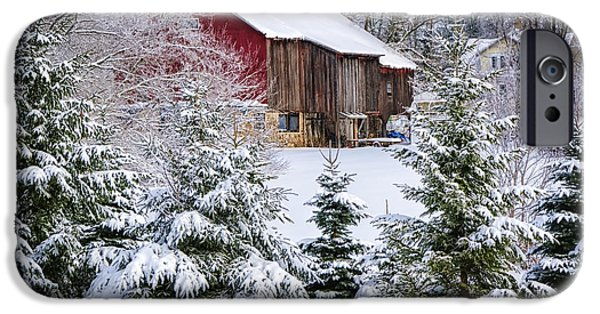 Old Barns iPhone Cases - Another Wintry Barn iPhone Case by Joan Carroll