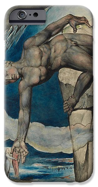 William Blake iPhone Cases - Antaeus setting down Dante and Virgil in the Last Circle of Hell iPhone Case by William Blake