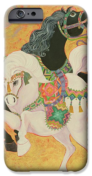 Horse iPhone Cases - Antar And Abla, 1989 Acrylic On Canvas iPhone Case by Laila Shawa