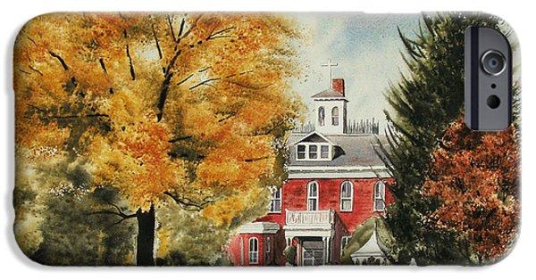 Fall Scenes Paintings iPhone Cases - Antebellum Autumn Ironton Missouri iPhone Case by Kip DeVore
