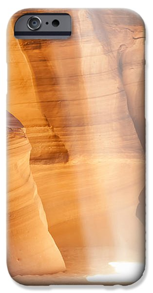 Red Rock iPhone Cases - Antelope Canyon Light Beam iPhone Case by Melanie Viola