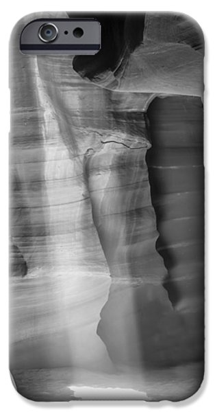 Navajo Nation iPhone Cases - ANTELOPE CANYON Lightbeam bw II iPhone Case by Melanie Viola