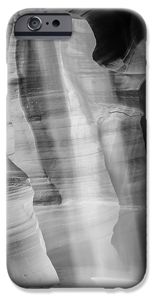 Navajo Nation iPhone Cases - ANTELOPE CANYON Lightbeam bw iPhone Case by Melanie Viola