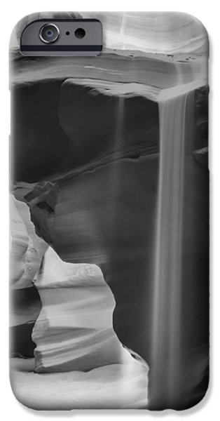 Navajo Nation iPhone Cases - ANTELOPE CANYON Pouring Sand bw iPhone Case by Melanie Viola