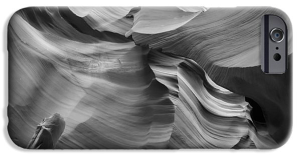 Navajo Nation iPhone Cases - Antelope Canyon Rock Formations bw iPhone Case by Melanie Viola