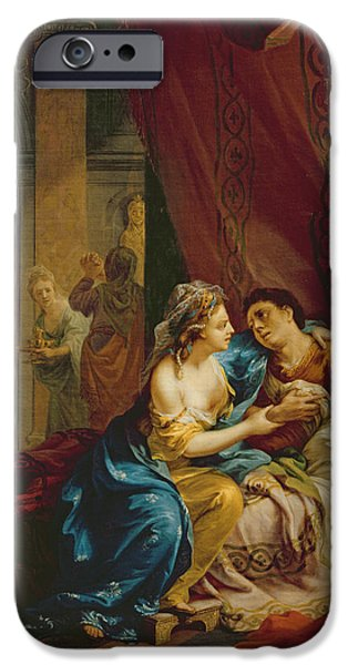 Wounded iPhone Cases - Anthony And Cleopatra, 1774 Oil On Canvas iPhone Case by Johann Heinrich Tischbein