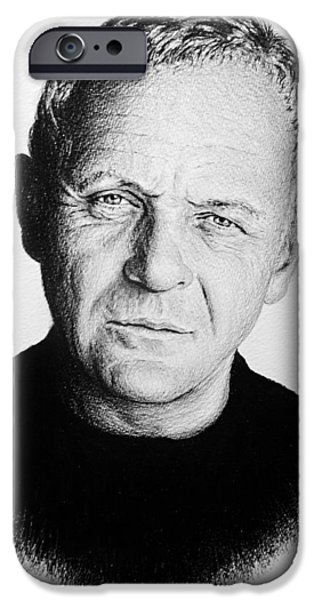Movie Star Drawings iPhone Cases - Anthony Hopkins iPhone Case by Andrew Read