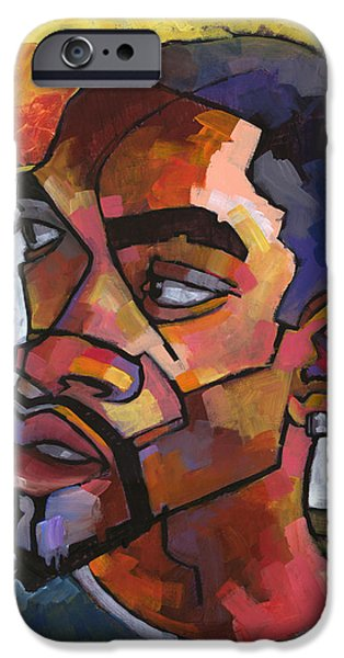 African American Paintings iPhone Cases - Anthony Waiting in the Car iPhone Case by Douglas Simonson