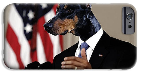 Barack Obama Mixed Media iPhone Cases - Anthropomorphic President Barack Obama with a doberman dog head in a digital art collage iPhone Case by Marian Voicu