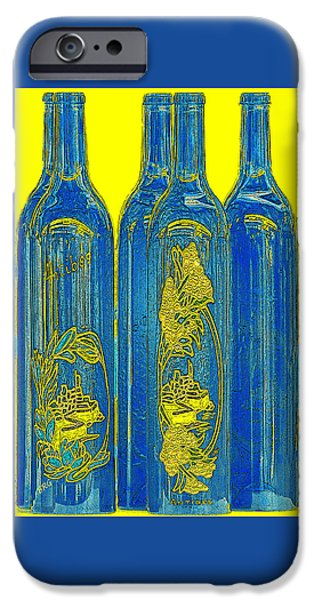 Wine Bottles iPhone Cases - Antibes Blue Bottles iPhone Case by Ben and Raisa Gertsberg