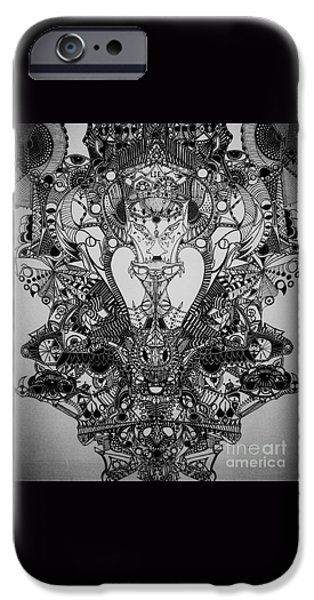 Abstract Digital Drawings iPhone Cases - Antichrist iPhone Case by Michael Kulick
