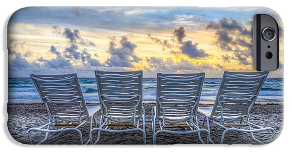 Adirondack Chairs On The Beach iPhone Cases - Anticipation iPhone Case by Debra and Dave Vanderlaan