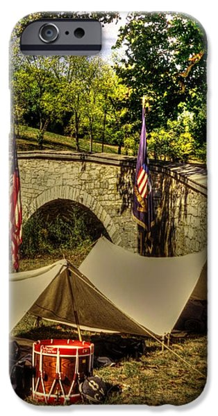 Antietam - 8th Connecticut Volunteer Infantry-A1 Encampment Near the Foot of Burnsides Bridge iPhone Case by Michael Mazaika