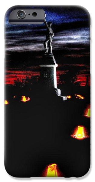 Antietam Memorial Illumination - 3rd Pennsylvania Volunteer Infantry Sunset iPhone Case by Michael Mazaika
