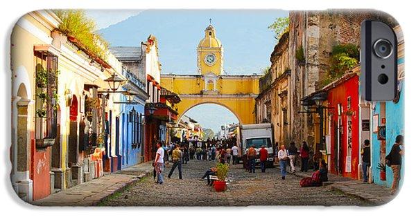 Original Photography iPhone Cases - Antigua Guatemala clock iPhone Case by Carey Chen