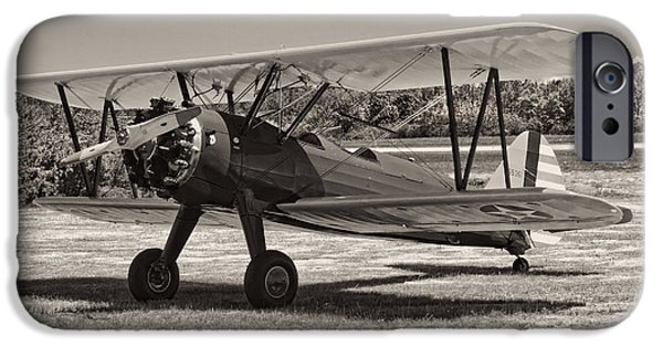 Aeronautics iPhone Cases - Antique 1941 Stearman A75N/1 Biplane Airplane iPhone Case by Keith Webber Jr