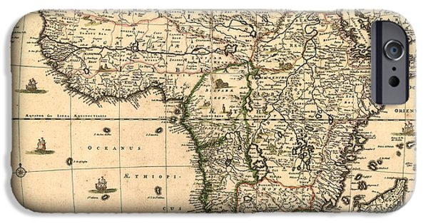 Antiques iPhone Cases - Antique Africa Map iPhone Case by Gary Grayson