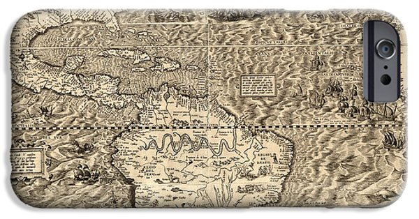 Antiques iPhone Cases - Antique America Map iPhone Case by Gary Grayson