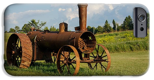 Machinery iPhone Cases - Antique And Rusty - an Old Iron Tractor on a Farm iPhone Case by Georgia Mizuleva