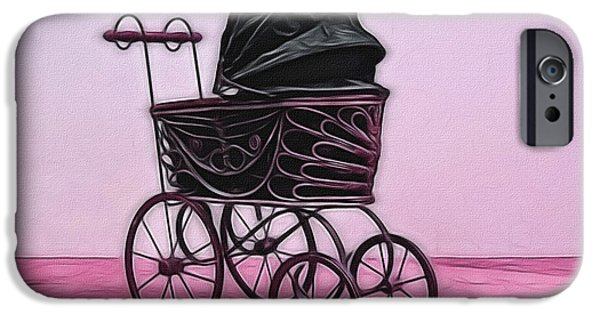 Old Digital Art iPhone Cases - Antique Baby Carriage Digital Art iPhone Case by Ernie Echols