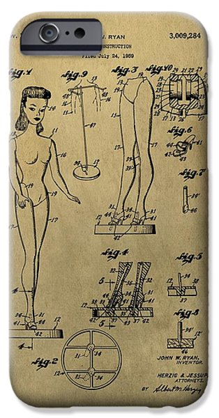 Toy Store iPhone Cases - Antique Barbie Doll Patent iPhone Case by Dan Sproul