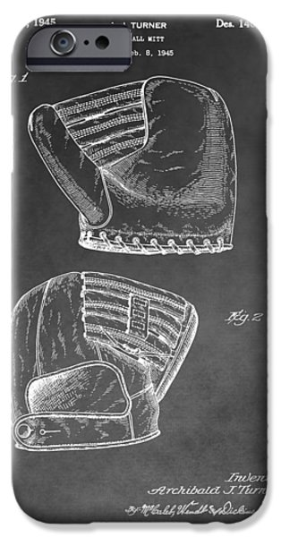 Baseball Glove Drawings iPhone Cases - Antique Baseball Mitt iPhone Case by Dan Sproul