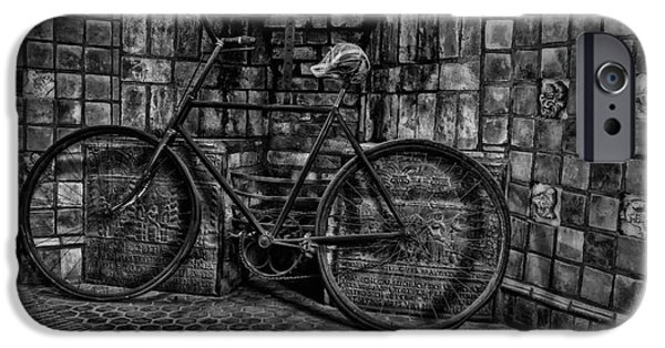 Black And White iPhone Cases - Antique Bicycle BW iPhone Case by Susan Candelario