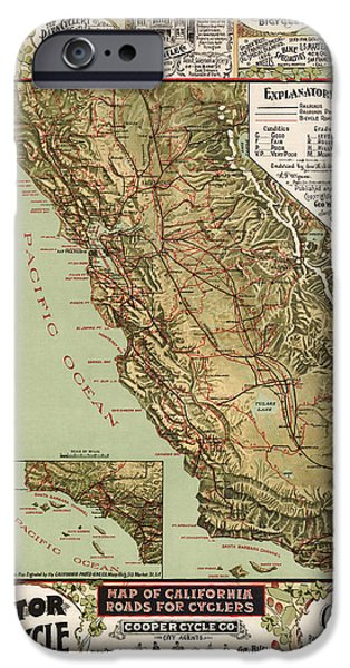 California Map iPhone Cases - Antique Bicycle Map of California by George W. Blum - 1895 iPhone Case by Blue Monocle