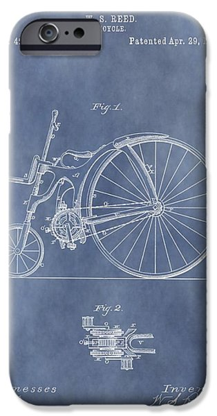 Cycling Drawings iPhone Cases - Antique Bicycle Patent 1890 iPhone Case by Dan Sproul