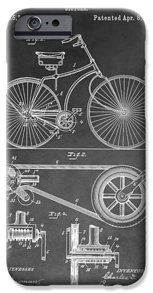 20th Drawings iPhone Cases - Antique Bicycle Patent Black And White iPhone Case by Dan Sproul