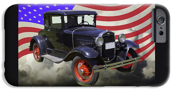 Model Digital Art iPhone Cases - Antique Black Ford Model A Roadster With American Flag iPhone Case by Keith Webber Jr
