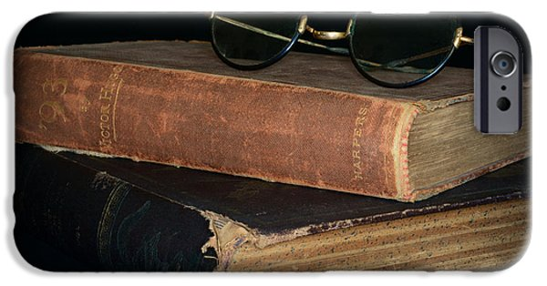 Nineteenth iPhone Cases - Antique Books  Antique Glasses iPhone Case by Paul Ward